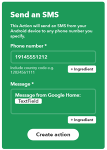 Configure IFTTT Android SMS Action