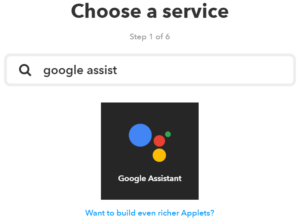 Google Assistant IFTTT Applet